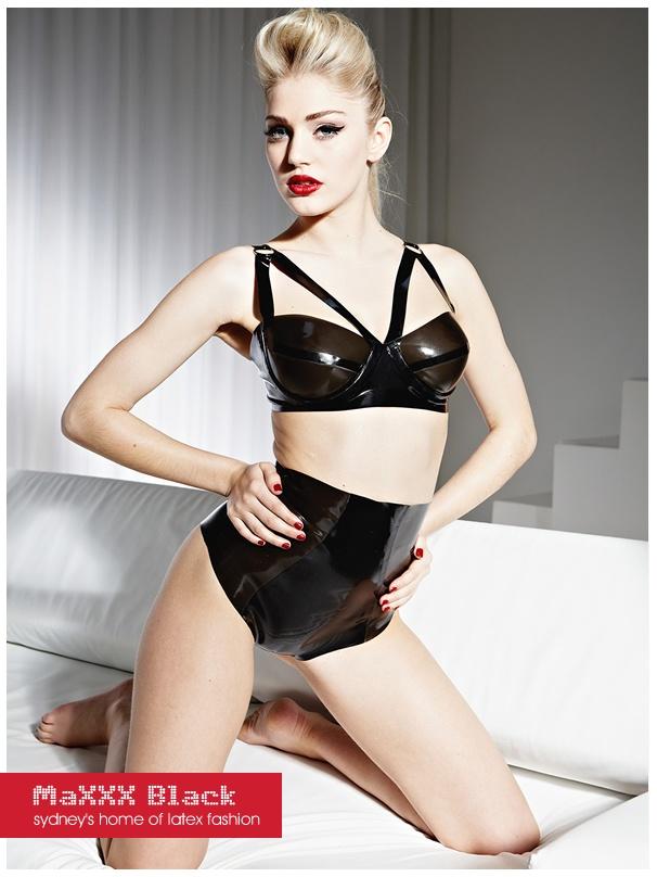 Latex Bra   Underwear set - semi transparent black latex!  bf212b46e