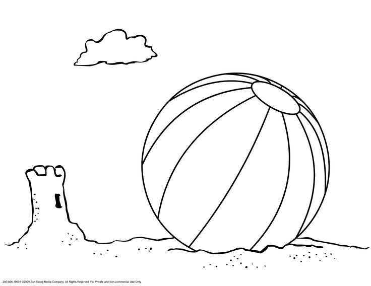 Beach Ball and Sand Castle Coloring Page Coloring Page