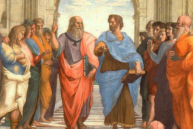 """Platon pekar upp mot idéernas värld medan Aristoteles, med """"Den nikomachiska etiken"""" i sin hand, föredrar att hålla sig nära det praktiska och konkreta. Detalj ur Rafaels """"Skolan i Aten"""", 1509–11."""