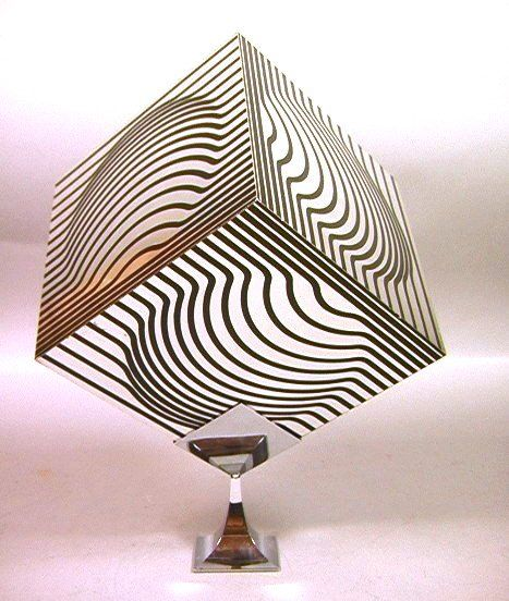 VICTOR VASARELY Metal Cube OP ART Sculpture on Ch