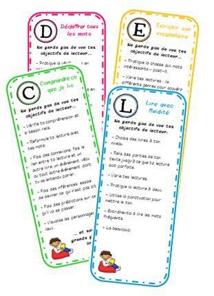 Des marque-pages pour rappeler les objectifs de lecteur - La classe de Mallory