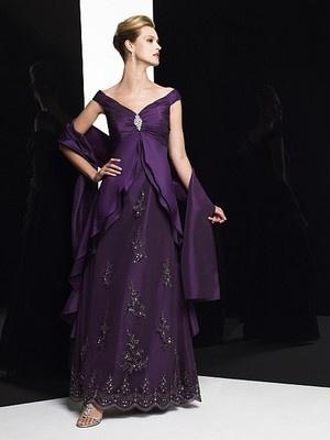 V-neckline Purple Mother of the bride dress Taffeta Lace Bridesmaid gowns Custom