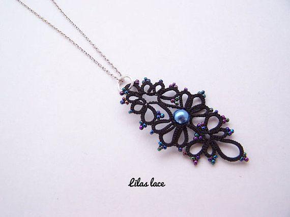 Pendant black lace blue beads - tatting jewelry