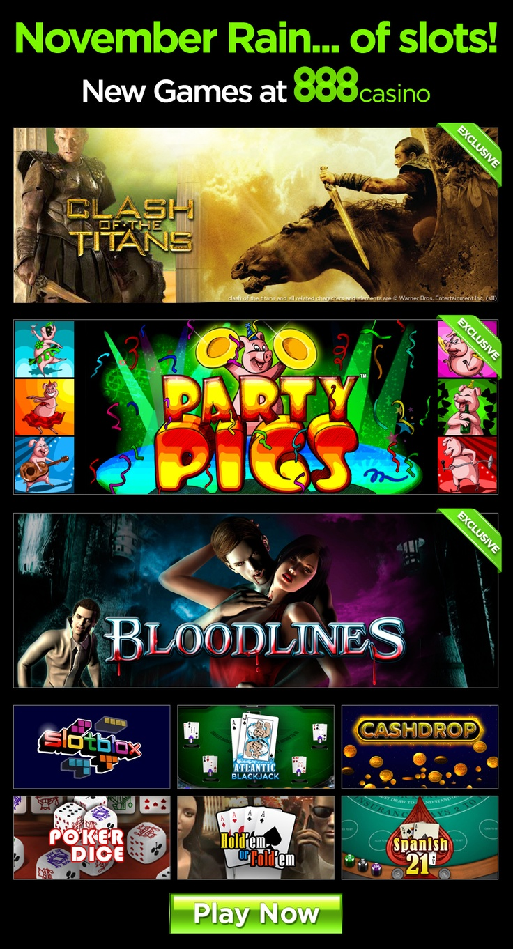 New games at 888casino: Clash of the Titans video poker, Bloodlines, Party Pigs and more!