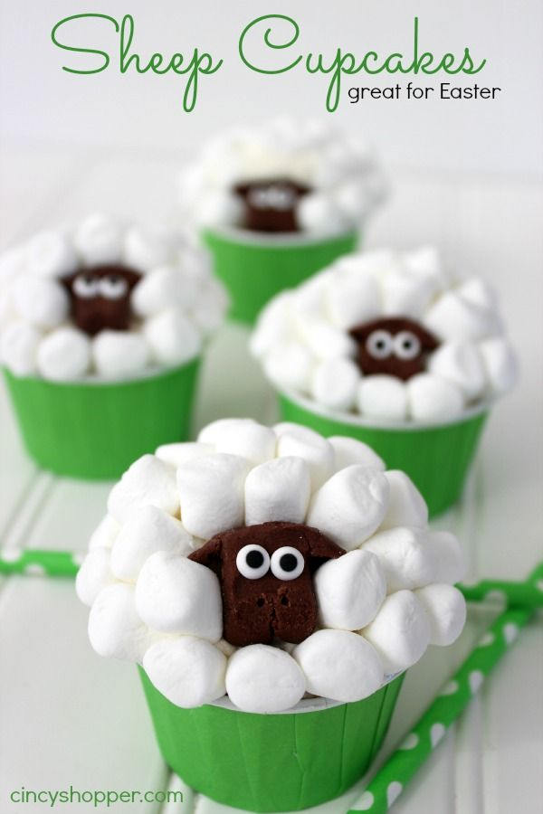 Sheep Cupcakes for Easter dessert. So super simple and CUTE!