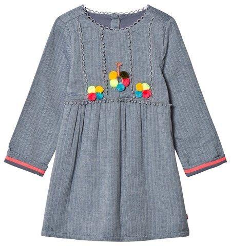 Billieblush Blue Chambray Pom Pom Dress