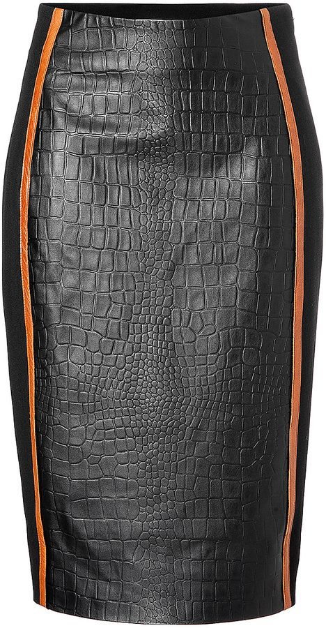 Jonathan Simkhai Embossed Leather Pencil Skirt with Stretch Paneling