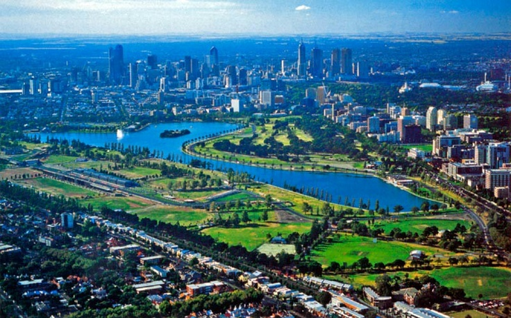 Albert Park Lake in foreground and Melbourne in the distance