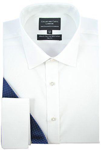 CHEMISE SANS REPASSAGE BLANCHE – HOMME – Un Tissu de Grande Qualité, 100% Coton – Sergé Blanc – Cintrée, Slim Fit – Manche Longue, Poignet…