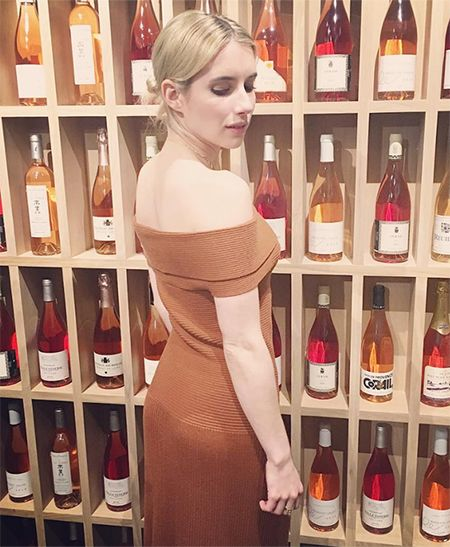 Emma Roberts on Instagram January 21, 2017, wearing an Elizabeth and James dress. #style #celebstyle #elizabethandjames #instagram