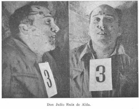 La matanza de la cárcel Modelo - Los anarquistas, con el pleno control de la prisión, hicieron una selección de 32 presos derechistas, republicanos moderados, militares y sacerdotes. Durante la madrugada del 22 al 23 de agosto, fueron fusilados en los sótanos de la quinta galería de la cárcel - Julio Ruiz de Alda, aviador militar, tripulante del glorioso avión Plus-Ultra, fundador de la Falange Española, en la que acompañó desde un principio a José Antonio Primo de Rivera.