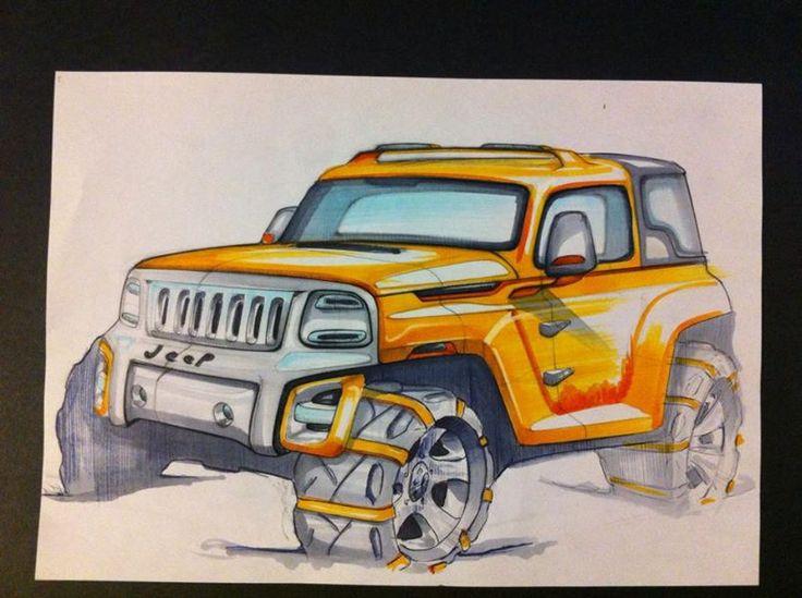 jeep concept suv sketch pencil markers design automotive Alessandro_Zanotti