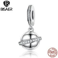 BISAER Exclusivo Design Original 925 Sterling Silver Cercado Planeta Pingentes Encantos Fit Pandora Pulseiras Jóias ECC135 alishoppbrasil