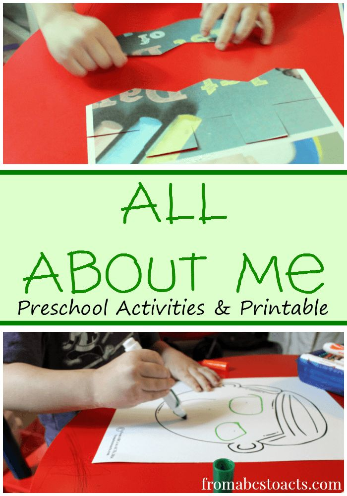 All About Me Preschool Activities with a Free Printable - From ABCs to ACTs