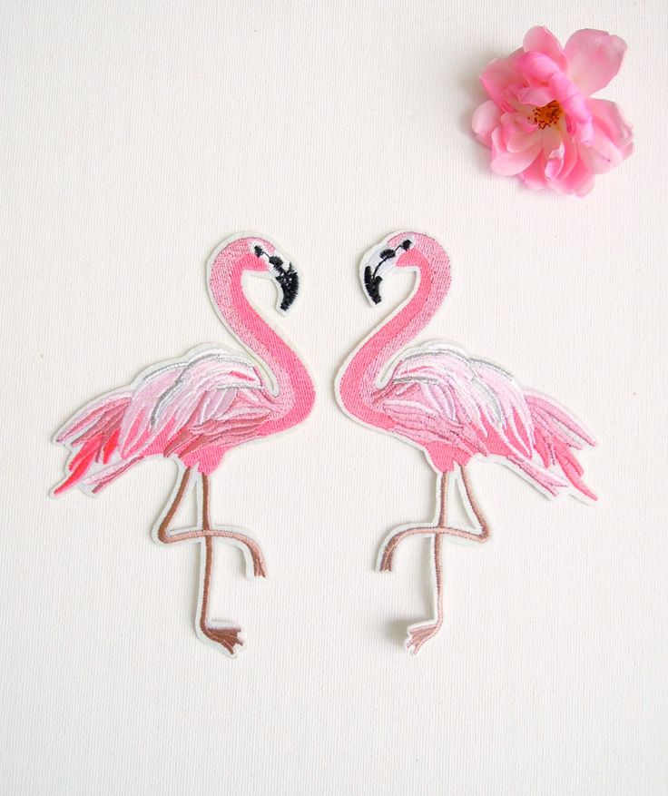 Large Pink Flamingo iron on patches set of 2 - Iron on flamingo patches - Iron on appliques pink flamingos - Tropical iron sew on patches by BrightonBabe on Etsy