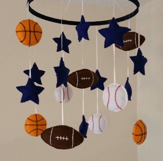 Champ- Basketball, football, and baseball. Sports nursery baby mobile. Www.facebook.com/graceannbaby