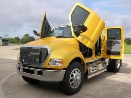 Ford F650.  My dream truck... Little ole lady and her truck....