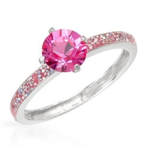 Solitaire Ring With Genuine Crystal Stunning solitaire ring with genuine crystal rainbow enamel and 925 sterling silver. Total item weight 1.5g. Size 6.5. Gemstone info: crystal with round shape and pink color.