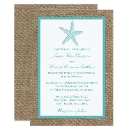 Turquoise Starfish Burlap Beach Wedding Collection Card - click to get yours right now!