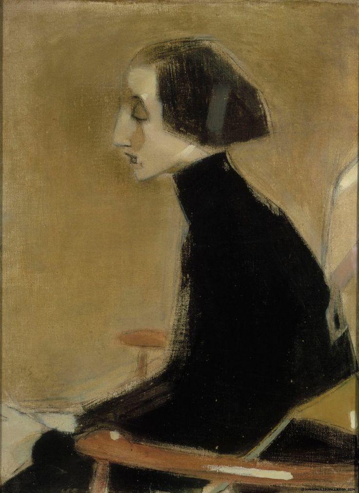 Ompelijatar, puolivartalokuva (Työläisnainen), 1927 | Helene Schjerfbeck | Kansallisgalleria | Kuva Hannu Aaltonen