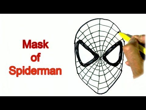How to draw Spidermans Mask- in easy steps for children. beginners, My Crafts and DIY Projects