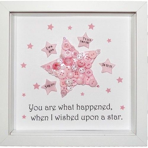Personalised Star for Girls Button Picture Keepsake. | £28.00