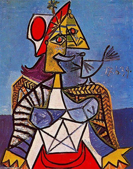 'sitzende frau (12)', öl auf leinwand von Pablo Picasso (1881-1973, Spain)