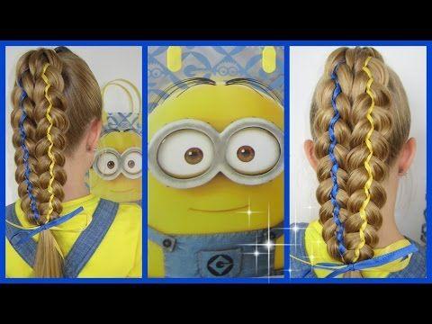 5 Strähnen Zopf☀ MINIONS inspiriert☀Flechtfrisur♥ Frisur für Mädchen - YouTube