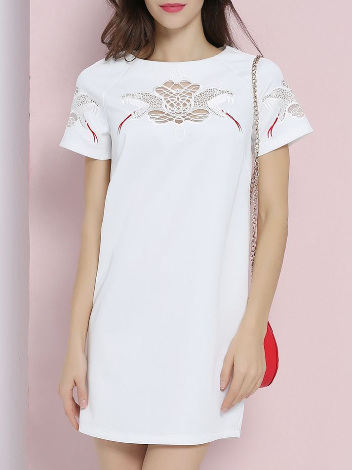 Buy it now. White Embroidered Hollow Shift Dress. White Round Neck Short Sleeve Polyester Shift Short Embroidery Fabric has no stretch Summer Casual Day Dresses. , vestidoinformal, casual, camiseta, playeros, informales, túnica, estilocamiseta, camisola, vestidodealgodón, vestidosdealgodón, verano, informal, playa, playero, capa, capas, vestidobabydoll, camisole, túnica, shift, pleat, pleated, drape, t-shape, daisy, foldedshoulder, summer, loosefit, tunictop, swing, day, offtheshoulder, s...