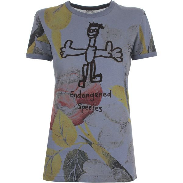Vivienne Westwood Anglomania Endangered Species T-Shirt ($200) ❤ liked on Polyvore featuring tops, t-shirts, slim fit t shirts, floral print t shirt, cotton t shirts, crew-neck tee and embellished t shirts