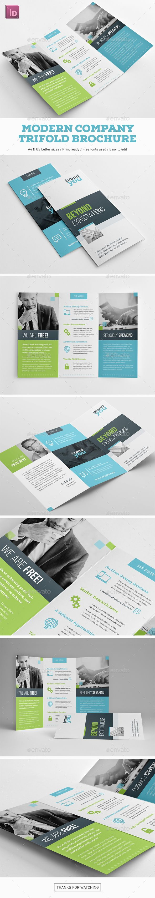 Modern Company Trifold Brochure Highly editable InDesign trifold brochure template. Easy to customize with styles and swatches. Clean visual structure and professional typography. Specification: Fully editable .indd (CS5 or higher) and .idml (CS4) files Two sizes A4 & US Letter included Print ready: 300 DPI, CMYK Color Mode, Bleed Text, color and images changeable Organized layers, easy to edit Editable sample logotype