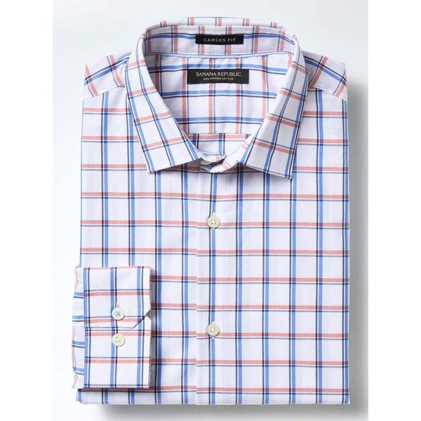 Banana Republic Mens Camden Fit Supima Cotton Windowpane Shirt ($80) ❤ liked on Polyvore featuring men's fashion, men's clothing, men's shirts, men's dress shirts, mens cotton shirts, men's spread collar dress shirts, mens banded collar dress shirts, mens dress shirts and mens collared shirt