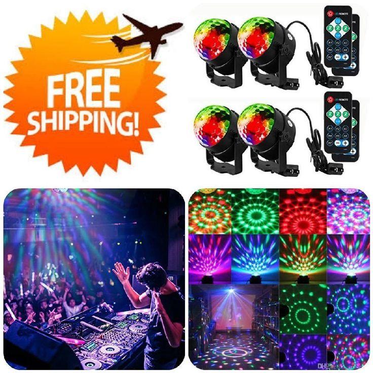 4 Pack Disco Ball Strobe Lights 7 Colors Sound Activated Festival Club Home Par #Litake