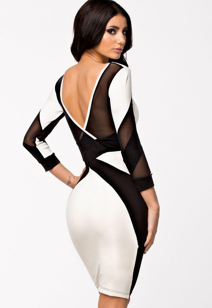 Black And White Mesh Cutout Midi Dress