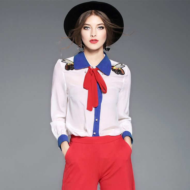 New 2017 spring summer fashion cute bee embroidery women girls silk shirts color block bow tops