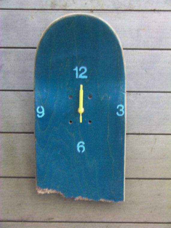 Unique Broken Skateboard Clock by Redtailartstudio on Etsy