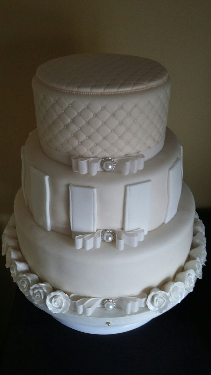 Hollywood glamour wedding cake, quilting and pearls, ivory, 3 tier chocolate, Vanilla,  lemon by Danielle Smith ( Rockylicious Cakes )