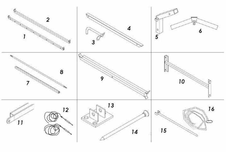 Component names 1. Eave Rail 2. Purlin 3. Locking Pin and R-Clip 4. Roof Beam 5. Eave Knuckle (Bracket) 6. Apex (ridge bracket) 7. Leg (often stored with the eaves knuckle in place) 8. Ground rail 9. Scissors 10. Portal Beam 11. End Leg 12. Roof Wires 13. Foot Plate (Base Plate) 14. Irons (pegs or pins) 15. Purlin Prop (Push pole) 16. Throw Over Rope