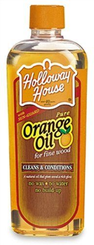 Holloway House Orange Oil by Holloway. $9.45. Conditions wood; Cleans wood; Includes sun-guard. Orange grove fresh fragrance to clean, protect and condition fine wood furniture and cabinets.