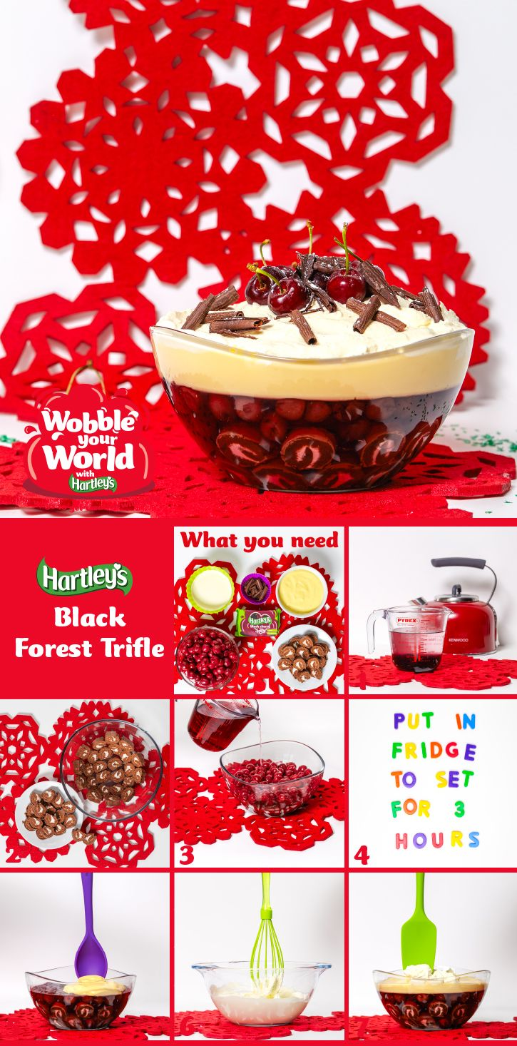 Black Forest Trifle: the Black Forest Gateaux gets the Hartley's Jelly trifle treatment! What you'll need: 1 x 135g pack Hartley's Black Cherry Jelly Cubes, 1 chocolate Swiss roll, 850g can black cherries (drained, reserve a quarter for decoration), 1kg ready-to-serve custard, 300ml whipping cream (lightly whipped), Grated chocolate for decoration, and a large serving dish! Click the image for more!