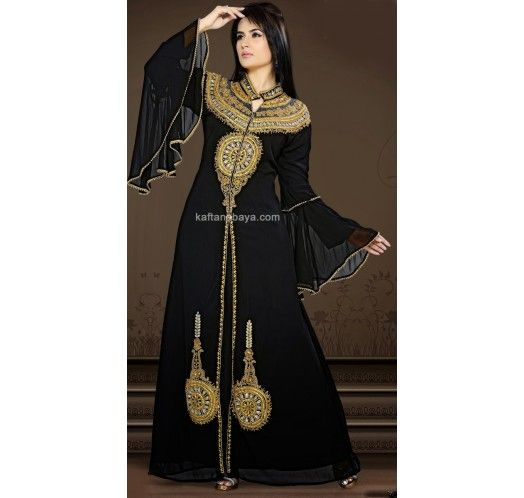 Black Faux Georgette Modern Islamic #Kaftan