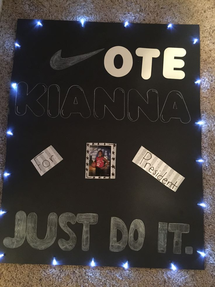 Student Council Campaign Poster. We added flashing lights and love it! Lights from Michaels.
