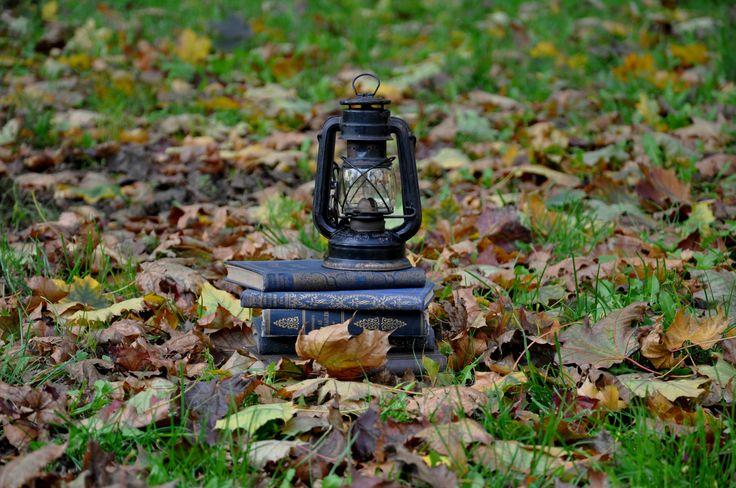 Autumn. Books. Storm lantern.
