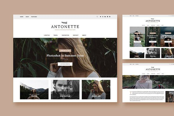 Antonette-WordPress Blog Theme by Creanncy on @creativemarket