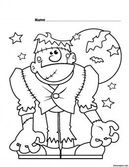 Free Printable coloring pages Halloween Frankenstein Monster for kids.free online coloring activities worksheets Halloween for preschool