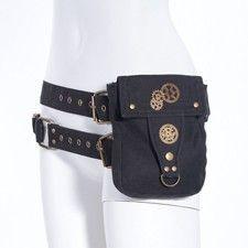 Black Steampunk Waist Pouch Belt