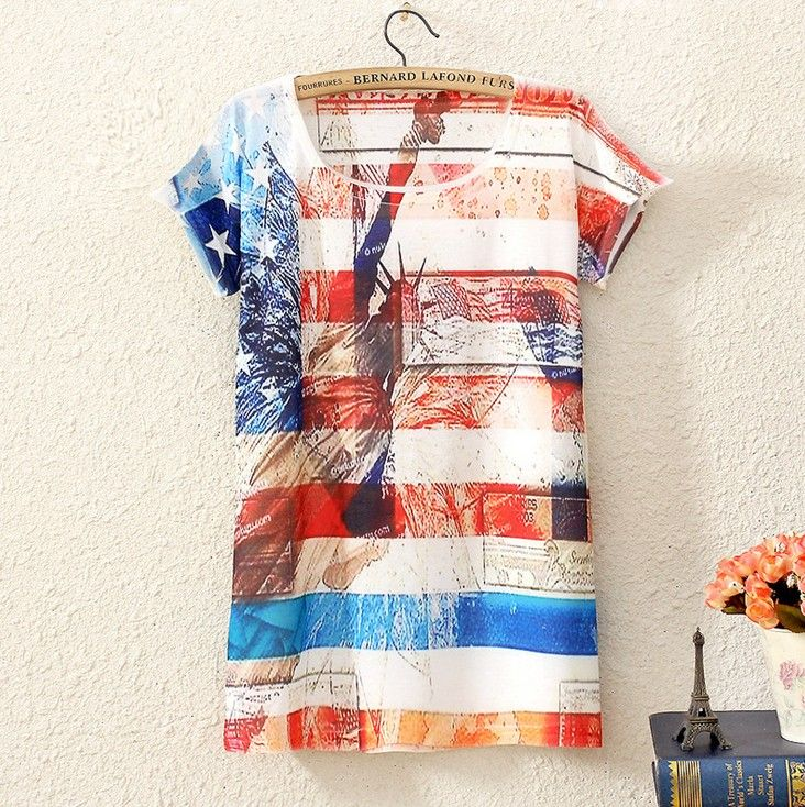 VINTAGE WOMENS SHORT SLEEVE STATUE OF LIBERTY GRAPHIC PRINTED T SHIRT TEE BLOUSE