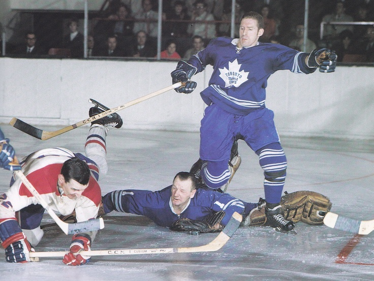 Johnny Bower going for it! #maple #leafs #toronto #johny #bower #nomask #save #habs #montreal #vintage #action