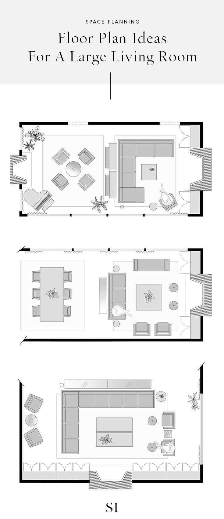 5 Einrichtungsideen Fur Ein Grosses Rechteckiges Wohnzimmer Mit Grundrissen Large Living Room Layout Living Room Furniture Layout