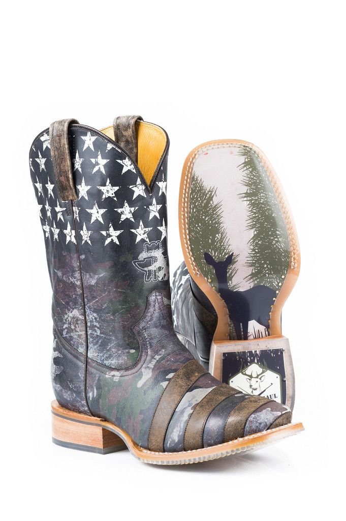 Tin Haul Mens Camoflag Green Leather Cowboy Hunt Club Boots Style # 14-020-0007-0091 GR